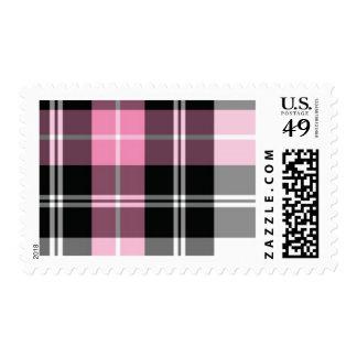 pink plaid postage