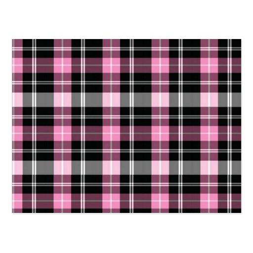 Pink Plaid Postcard