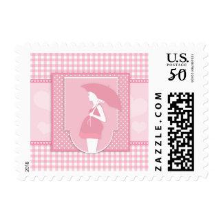 Pink Plaid Pregnancy Baby Shower Stamp