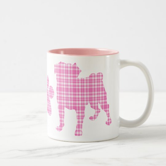 Pink Plaid Pugs and Paw Mug
