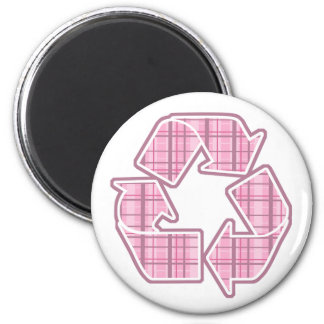 Pink Plaid Recycle Sign Magnet