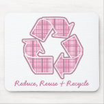 Pink Plaid Recycle Sign Mouse Mats