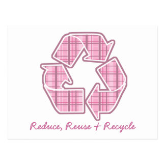 Pink Plaid Recycle Sign Post Card