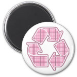 Pink Plaid Recycle Sign Refrigerator Magnet