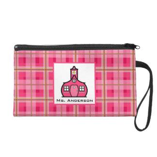 Pink Plaid & Schoolhouse Wristlet For Teachers