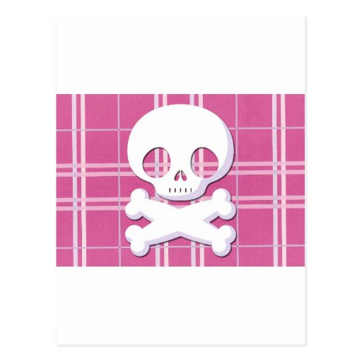 Pink Plaid Skull Post Card