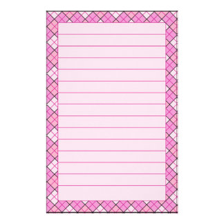 Pink Plaid Stationery Lined