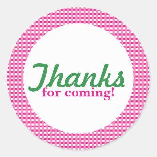 Pink Plaid Round Sticker
