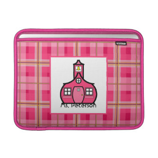 Pink Plaid Teacher Macbook Air Sleeve