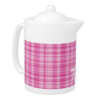 Pink Plaid Teapot