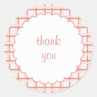 Pink Plaid - Thank You Sticker