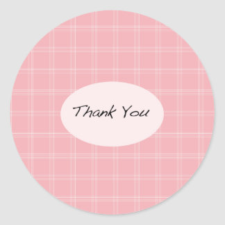 Pink Plaid Thank You Stickers