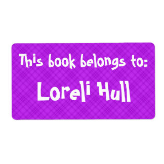 """Pink Plaid """"This Book Belongs To"""" Label"""