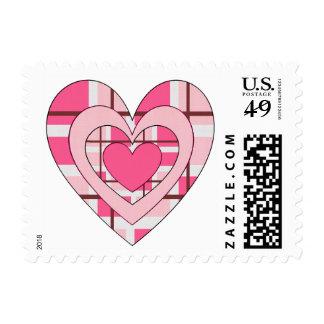Pink Plaid Valentines Day Heart Stamp