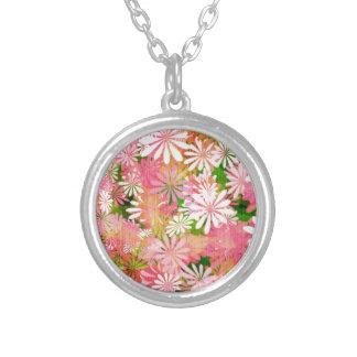 Pink plants round pendant necklace