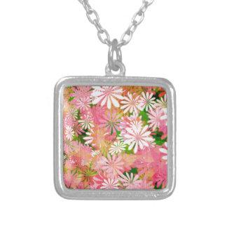 Pink plants square pendant necklace