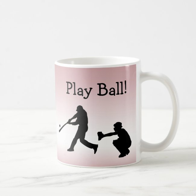 Pink Play Ball Baseball Sports Mug
