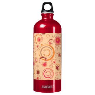 Pink Playful Retro Circles Water Bottle