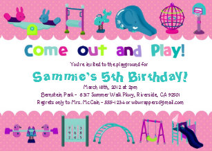 Playground birthday invitations announcements zazzle pink playground birthday party invitations filmwisefo Gallery