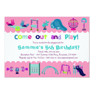 PINK - PLAYGROUND  - Birthday Party Invitations