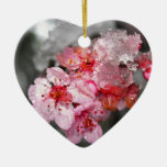 Pink Plum Blossoms & Snow Christmas Ornament