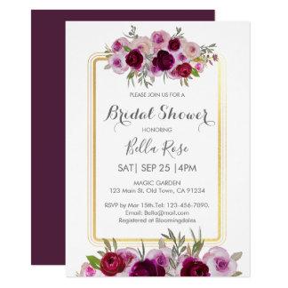 Pink Plum Faux Gold Floral Bridal Shower Invitation