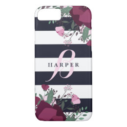 Pink & Plum Roses | Striped Monogrammed iPhone 8/7 Case