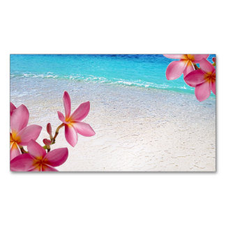 Pink Plumeria Beach House Rental Spa Boutique B&B Magnetic Business Cards (Pack Of 25)