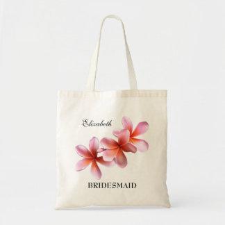 Pink Plumeria Bridesmaid Personalized Tote Bag