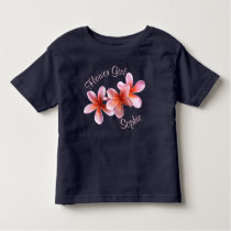 Pink Plumeria Custom Flower Girl Name Toddler T-shirt