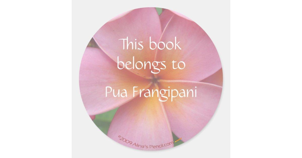 Pink plumeria flower bookplate stickers template zazzle mightylinksfo Choice Image