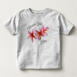 Pink Plumeria Frangipani Flower Girl Name Toddler T-shirt