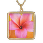 Pink Plumeria Frangipani Hawaii Flower Hawaiian Square Pendant Necklace