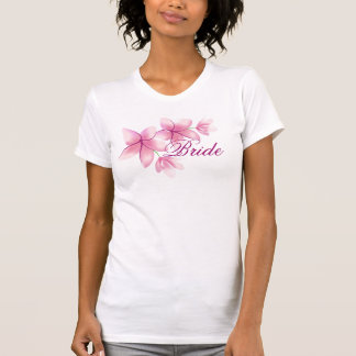 Pink Plumeria Ladies Twofer Sheer Fitted T-shirt