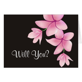 Pink Plumeria Maid of Honor Request  Notecard