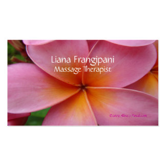 Pink Plumeria Massage Business Cards Template