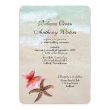 Pink Plumeria Ocean Starfish Wedding Invitations