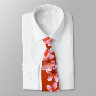 Pink Plumeria Orange Tropical Mens Tie