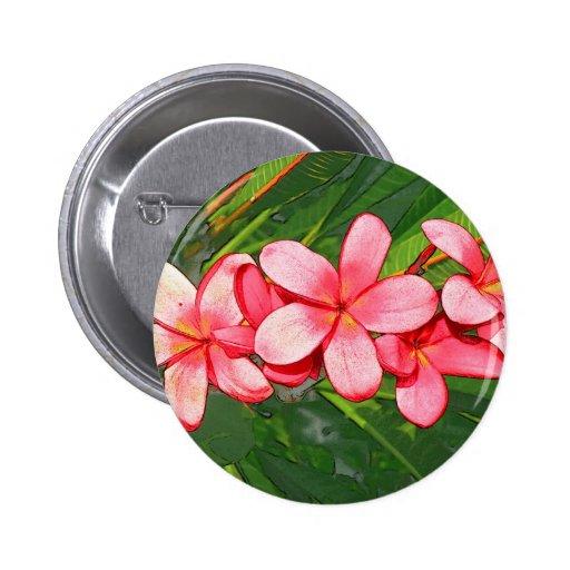 Pink plumeria pinback buttons