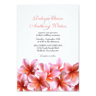 Pink Plumeria Tropical Beach Wedding Card
