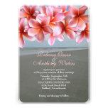 Pink Plumeria Tropical Beach Wedding Invitations
