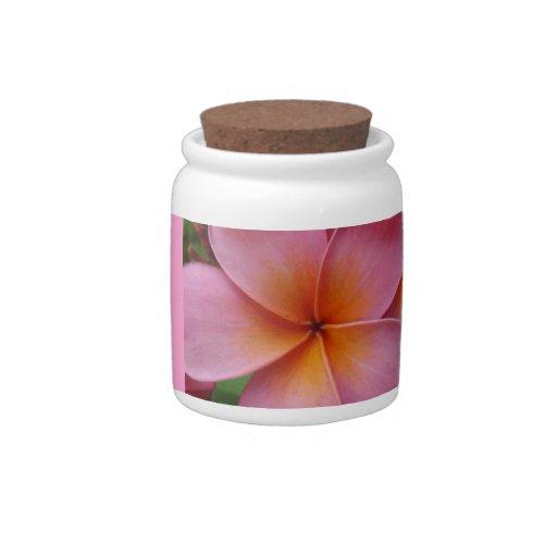 Pink Plumeria Tropical Flower Custom Candy Jar