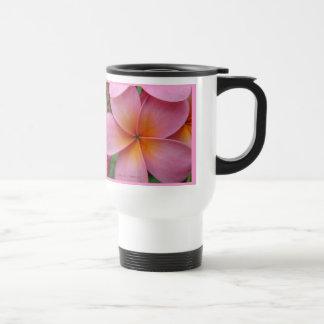 Pink Plumeria Tropical Flower StnlSteel Travel Mug