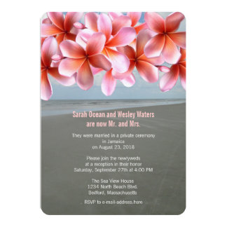 Pink Plumeria Tropical Reception Only 5x7 Paper Invitation Card