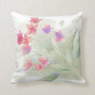 Pink Plumeria Watercolor Throw Pillow