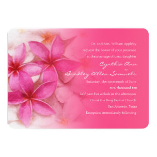 Pink Plumeria Wedding Invitation