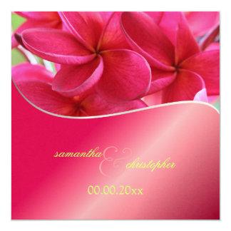 Pink Plumeria wedding Invitations