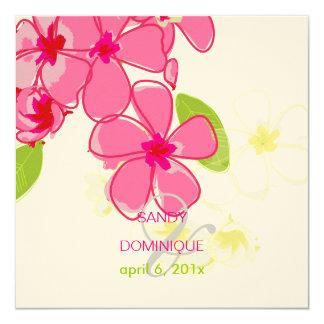 "Pink plumerias wedding invitations 5.25"" square invitation card"