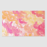 PINK PLUMES - Soft Pastel Wispy Pretty Peach Melon Rectangular Stickers
