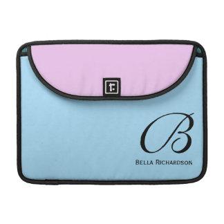 Pink Plus Blue Monogram MacBook Pro Sleeve 13